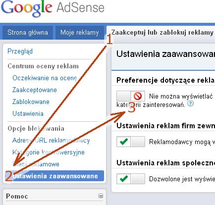 blokada reklam behawioralnych (dopasowanych do zainteresowań) w AdSense